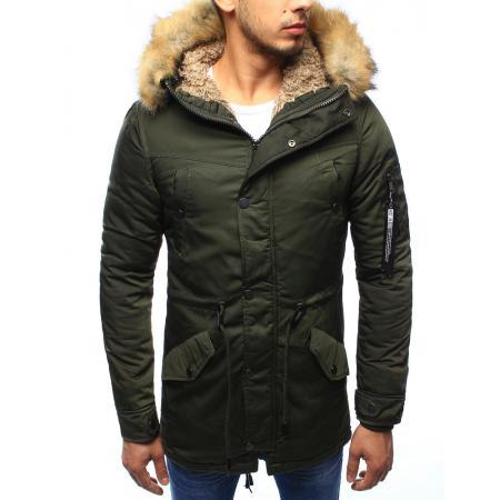 Pánská bunda parka zimní tmavě zelená