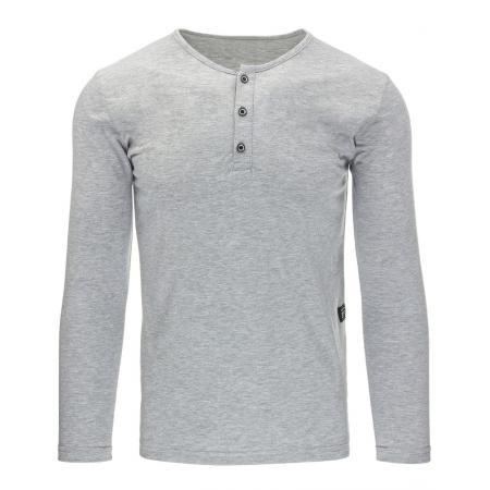 Pánské tričko s dlouhým rukávem bez potisku šedé