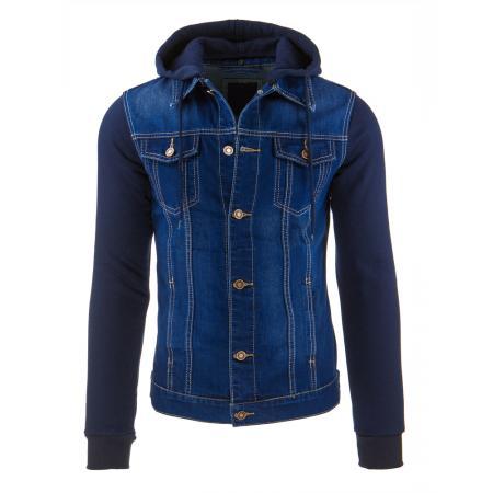 Pánská stylová jeansová (džínová) bunda s kapucí
