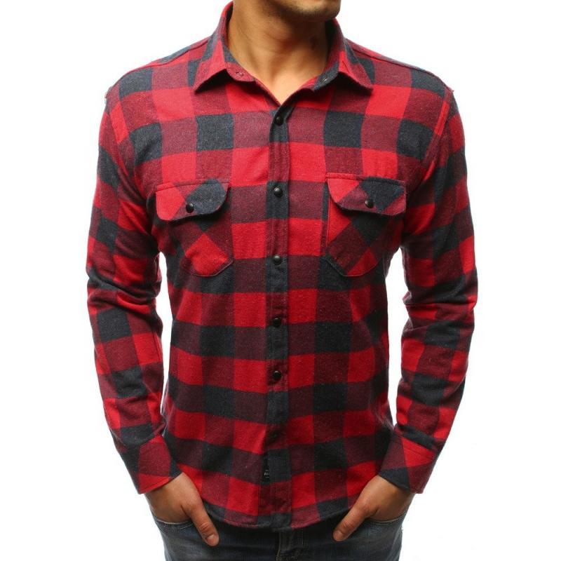 Pánská STYLE košile kostkovaná červeno-modrá  236e8a18d9