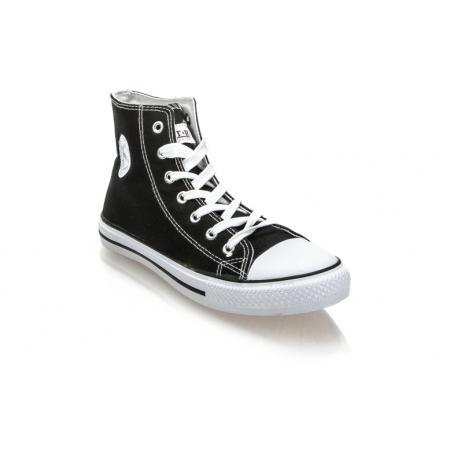Pánské černo bílé kotníkové plátěné boty (tenisky) MSTR CQ-1401