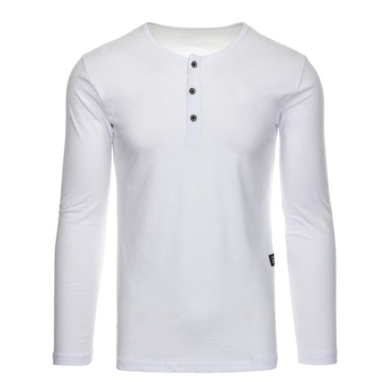Pánské tričko s dlouhým rukávem bez potisku bílé  8b5ef81eb4