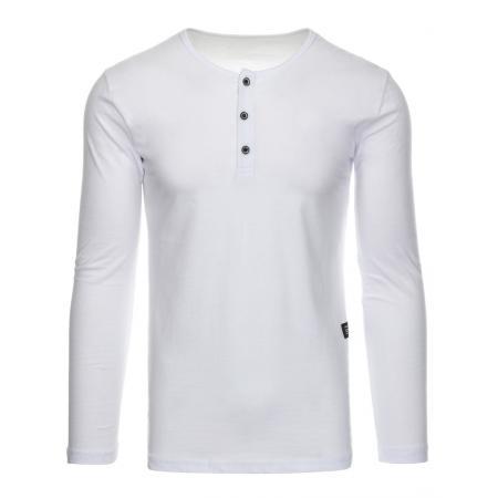 Pánské tričko s dlouhým rukávem bez potisku bílé