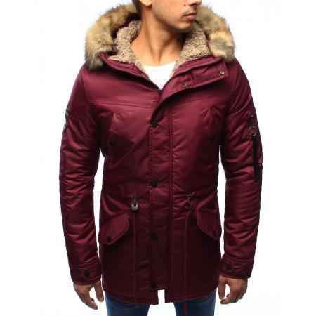 Pánská bunda zimní s kapucí červená