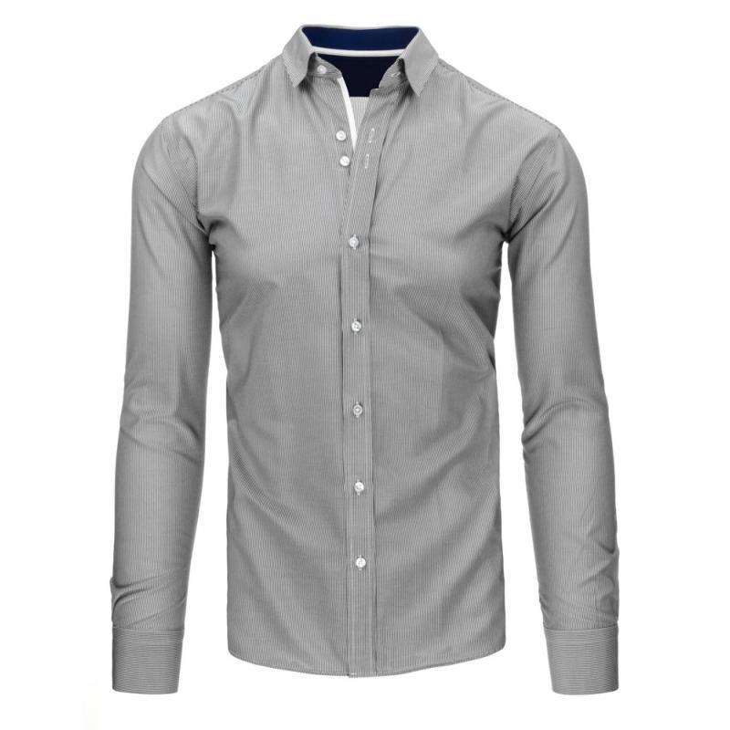 8074c9f8f6d Bílo-černá pánská moderní košile s pruhy