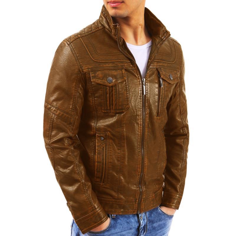 4fd6ae79b95 Pánská stylová koženková bunda hnědá