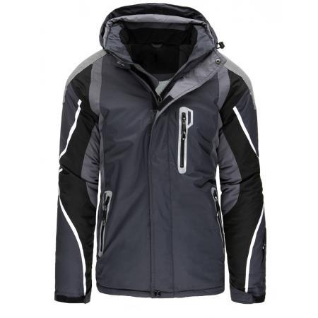 Pánská bunda zimní lyžařská s kapucí grafit