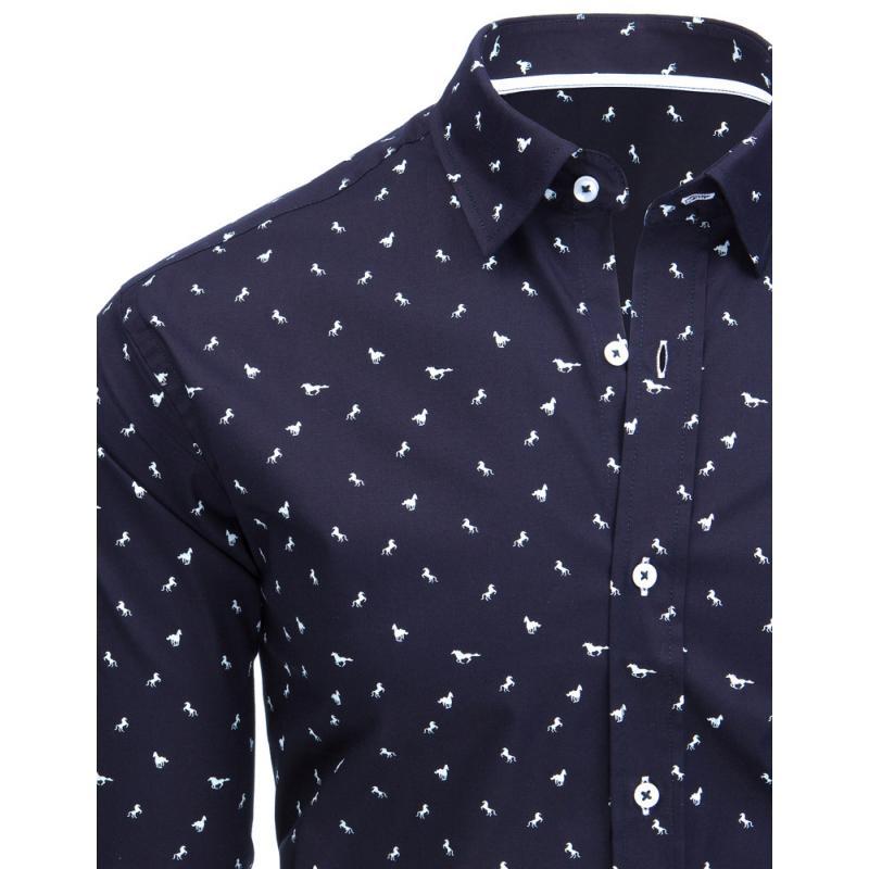 Tmavě modrá pánská košile s motivem koňů  892049b457
