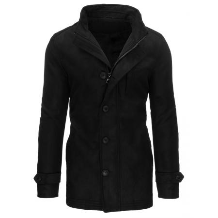 Pánský černý kabát se zapínáním na zip a knoflíky