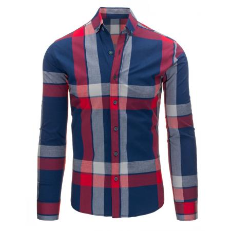 Modro-červená pánská košile kostkovaná