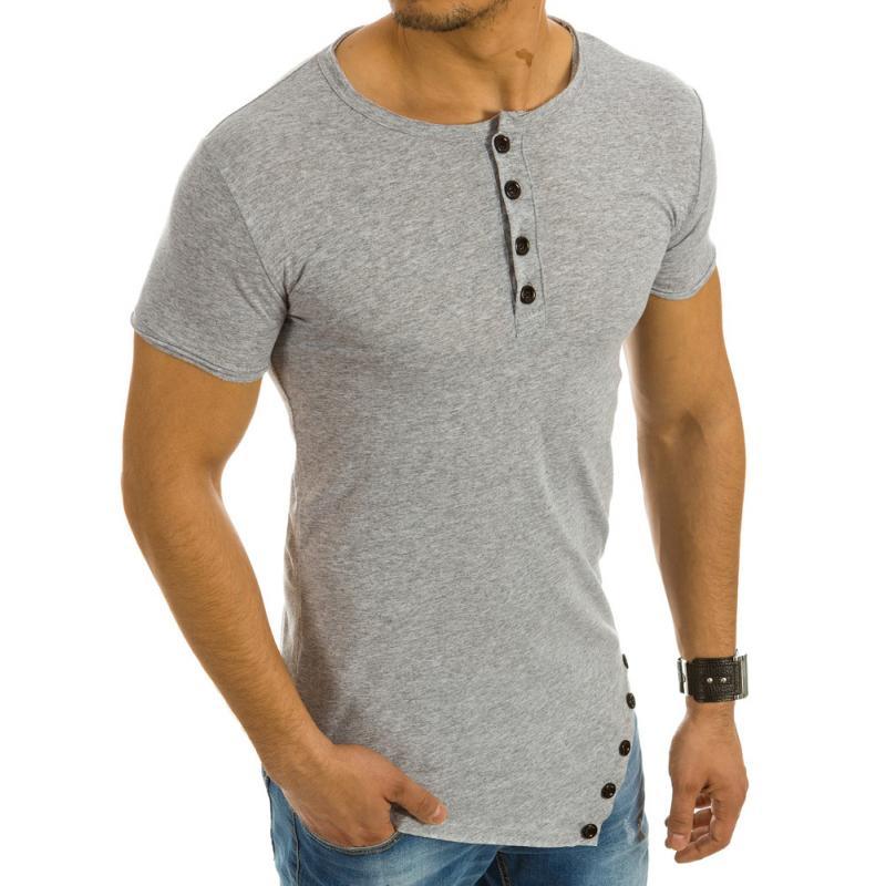 e62d0c8b26b Pánská stylové tričko asymetrický vzor šedé