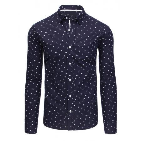 10b4f34934e Tmavě modrá pánská košile s motivem koňů