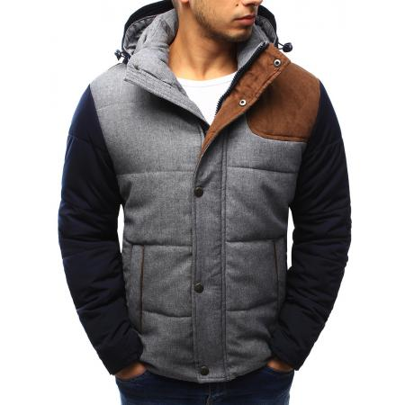 Pánská bunda zimní pruhovaná šedá