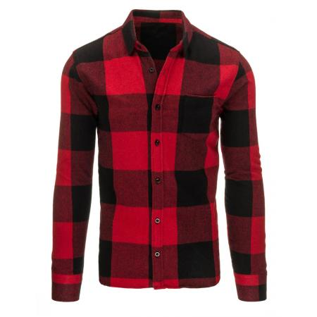 Červená pánská košile flanelová kostkovaná