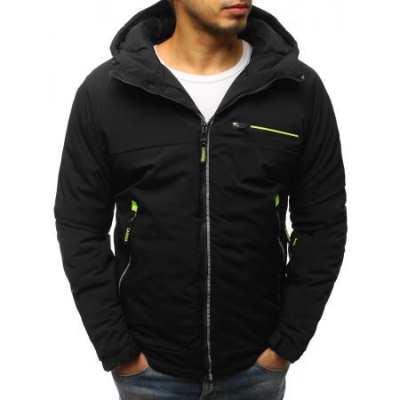 Pánská zimní bunda lyžařská s kapucí černá