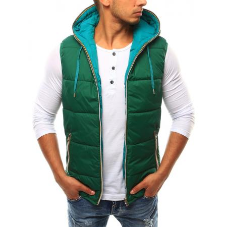 Pánská vesta oboustranná s kapucí zelená