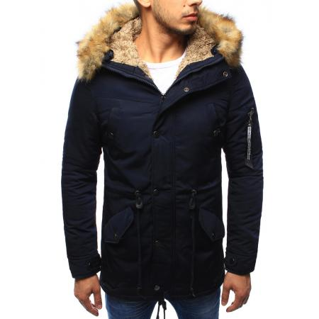 Pánská bunda parka zimní tmavě modrá