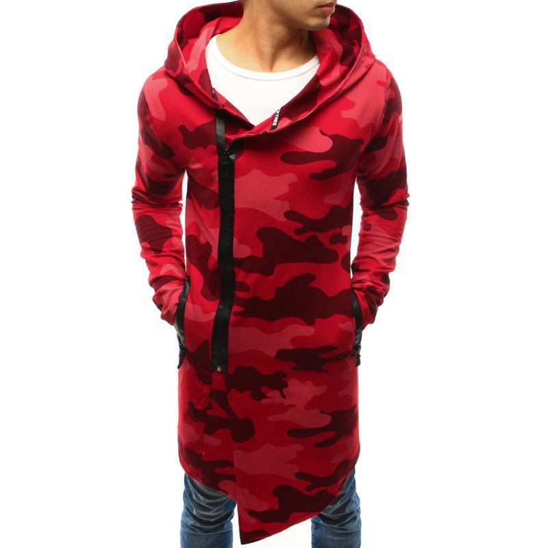 2b8c3175b9b Pánská mikina rozepínací s kapucí camo červená