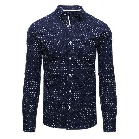 Modrá pánská košile s karetními symboly a dlouhým rukávem a23a384dc3