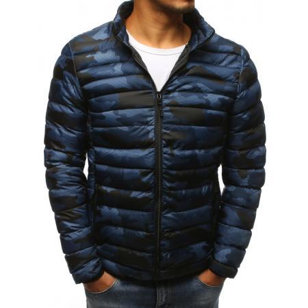 Pánská zimní bunda prošívaná camo tmavě modrá f5919954a67