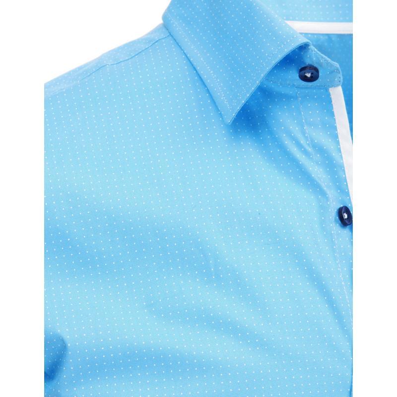 Světle modrá pánská košile s vzorem a dlouhým rukávem  9238371b28