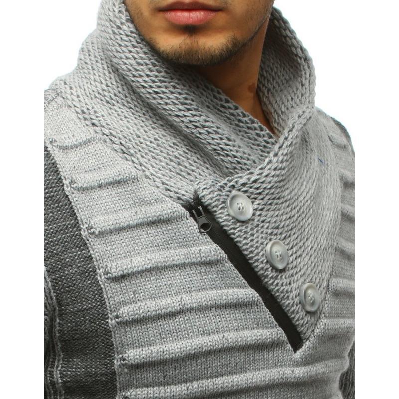 Pánský svetr šedý s knoflíky a zipem STYLE  6f29ae9fce