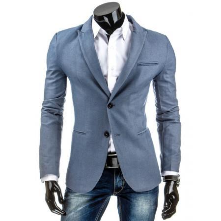 Elegantní pánské pohodlné sako v modré barvě