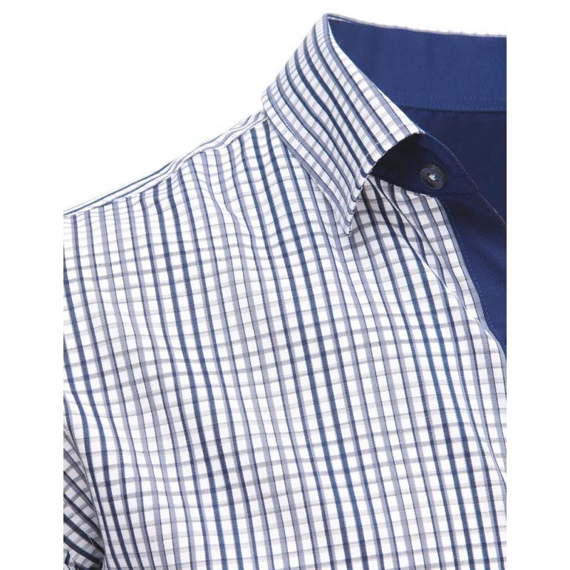 18538c467aa Modro-šedá pánská moderní košile čtverečkovaná