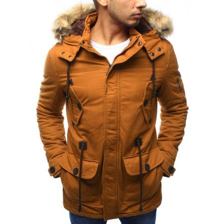 Pánská bunda parka zimní hnědá