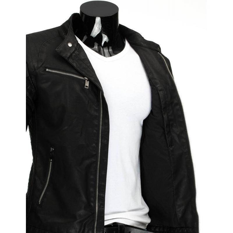 Pánská stylové černá kožená bunda na zip  3641e0fd6c2
