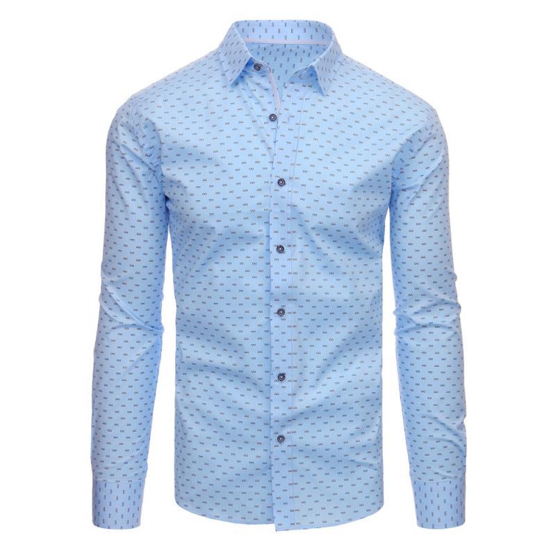 2cfa0cb0e60 Modrá pánská moderní košile vzorovaná s dlouhým rukávem