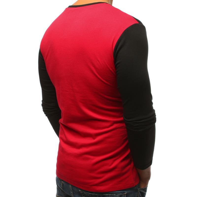Pánské červené tričko s kapsou a dlouhým rukávem  9fffa6cbb3