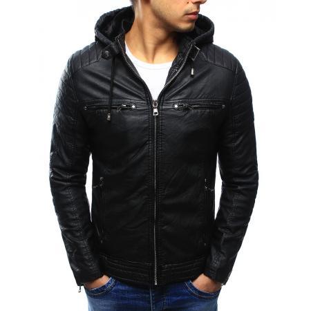 Černá pánská kožená bunda