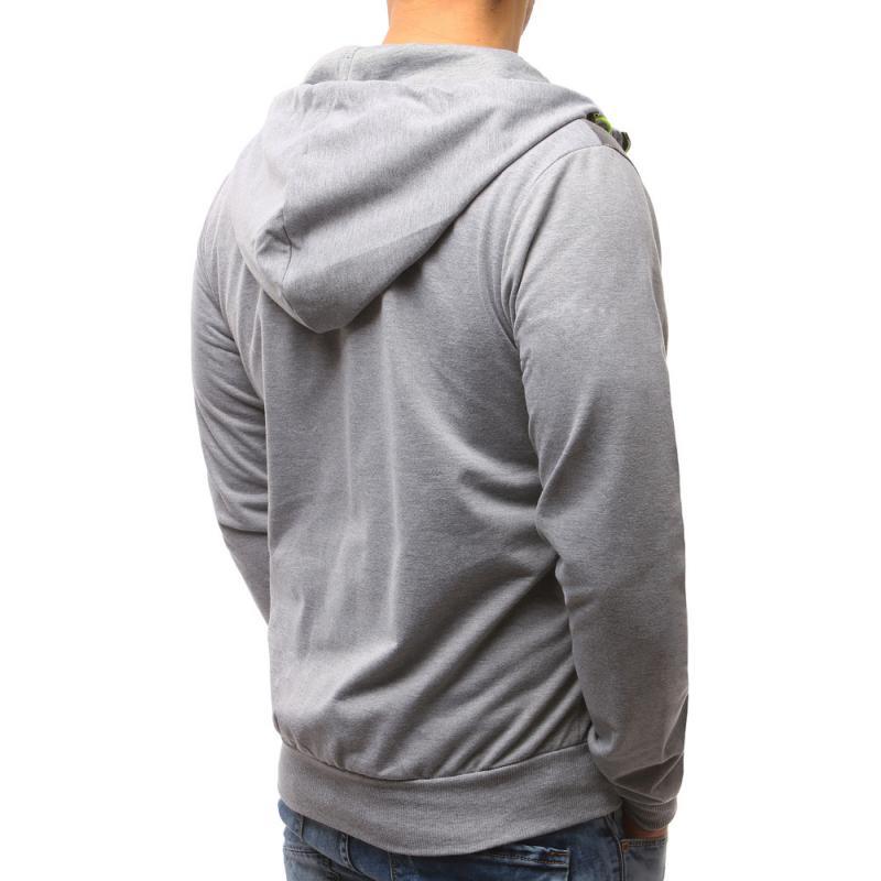 Pánská mikina se zipem s kapucí šedá  3f08f88b8d