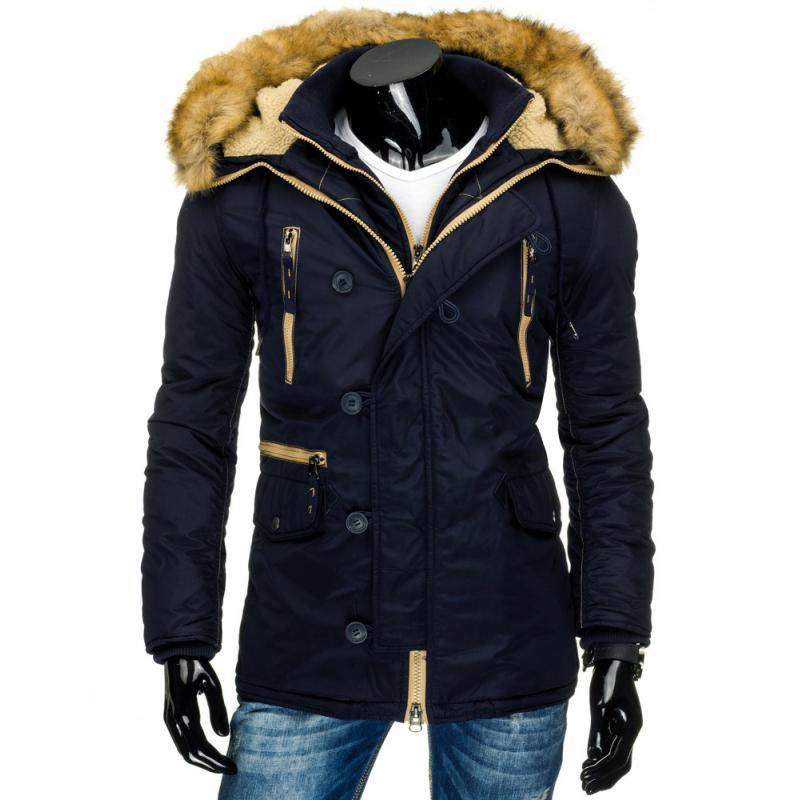 Pánská stylová zimní bunda (parka) modrá  60a81b539fb