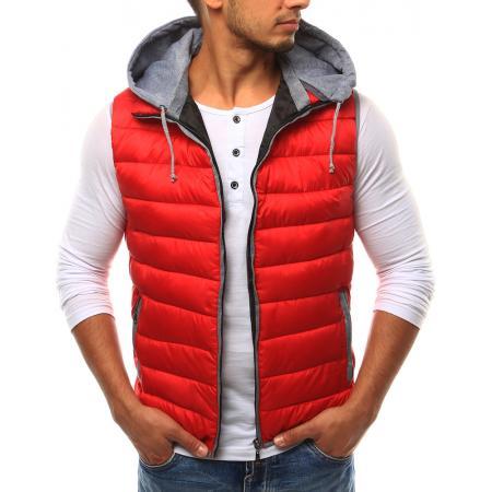 Pánská vesta s kapucí červená