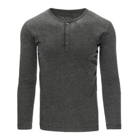 Pánské tričko s dlouhým rukávem bez potisku antracitová
