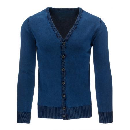 Pánský stylový svetr do v na knoflíky modrý