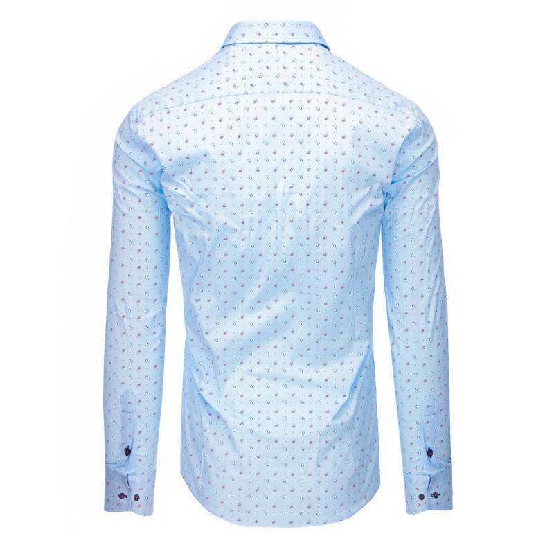 Světle modrá pánská košile s vzorem a dlouhým rukávem  12160e3627