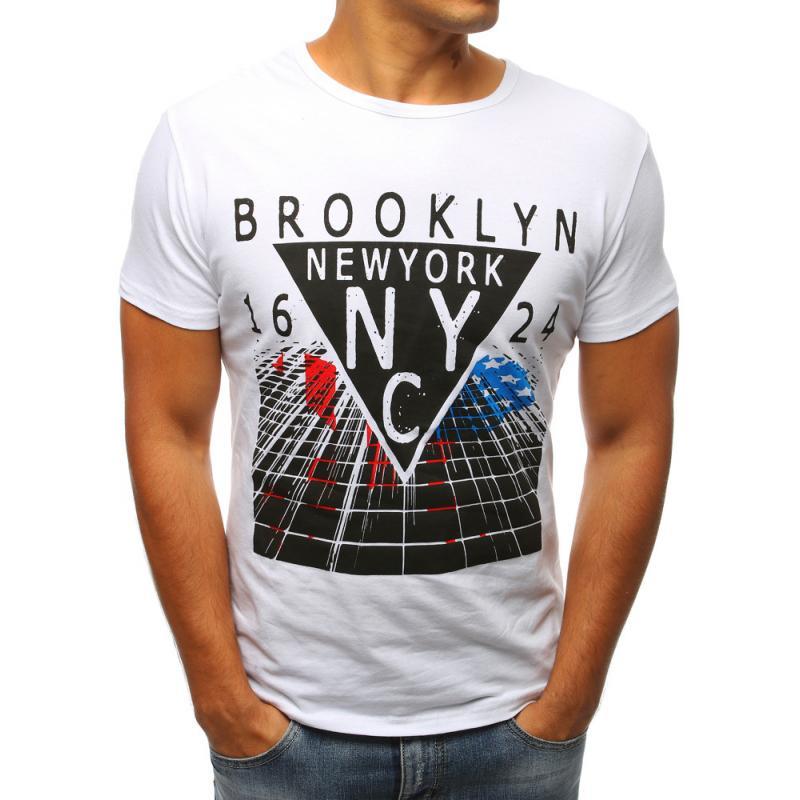 1726f0cbf941 Pánské tričko bíle s potiskem BROOKLYN