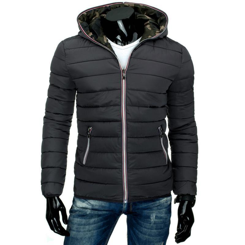 5fea615b0b7 Pánská moderní prošívaná bunda s kapucí grafitová