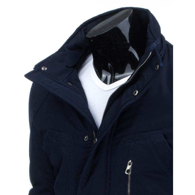 Pánská zimní bunda (parka) modrá s odnímatelnou kapucí  ff5b56199b3