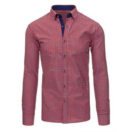 Červená pánská košile mřížkovaný vzor s dlouhým rukávem slim fit