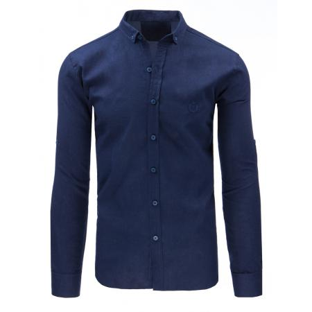 Tmavě modrá pánská košile s dlouhým rukávem
