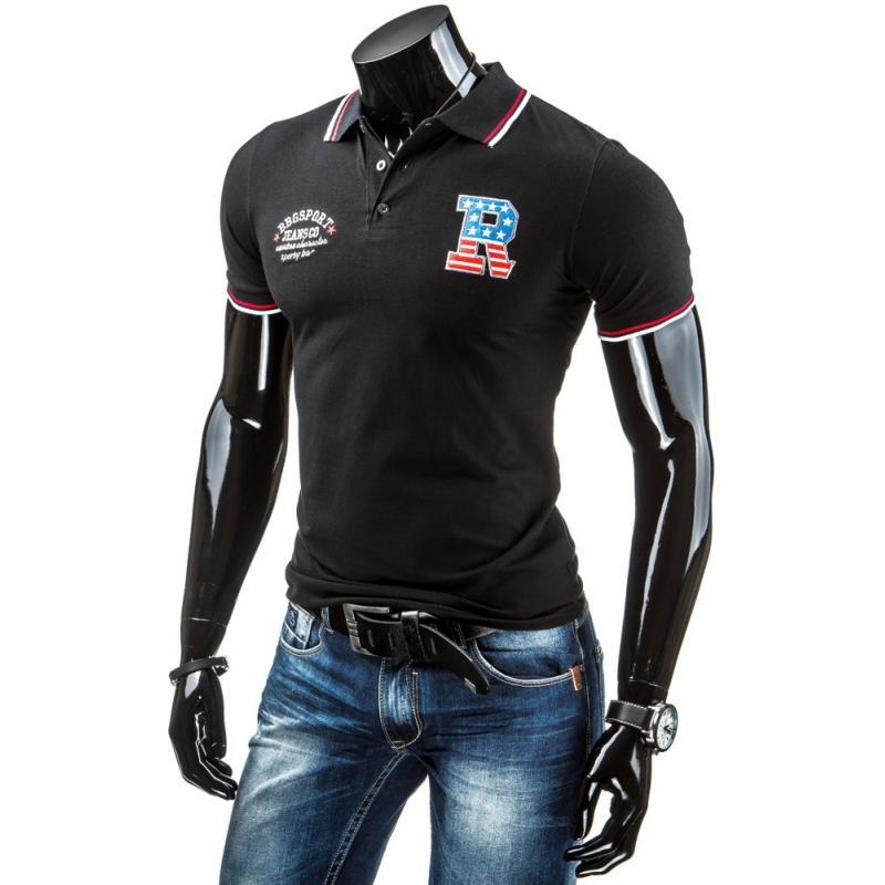 71a532b46c8 Pánské polo tričko s krátkým rukávem černé