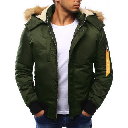 Bunda pánská zimní s kapucí zelená