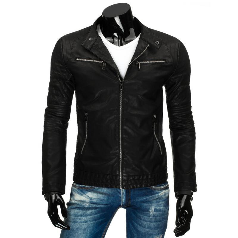 Pánská stylové černá kožená bunda na zip  71c7f427cb0