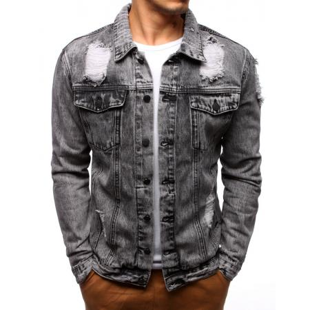 Pánská bunda džínová šedá