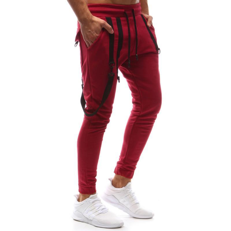 Pánské kalhoty joggery tepláky červené  264f944288