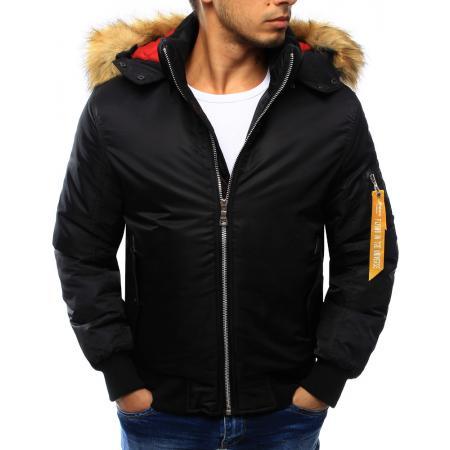 Pánská bunda zimní s kapucí černá